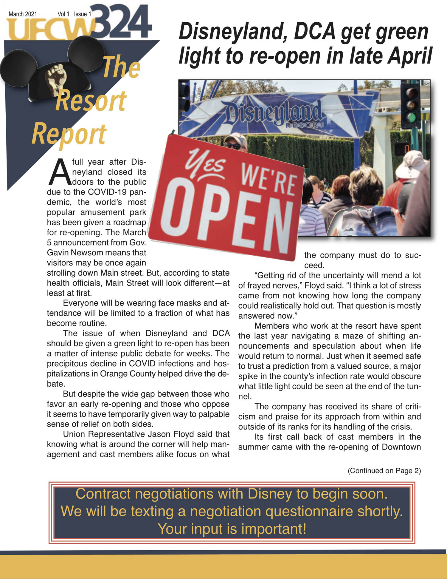 UFCW 324 Newsletter- Disney