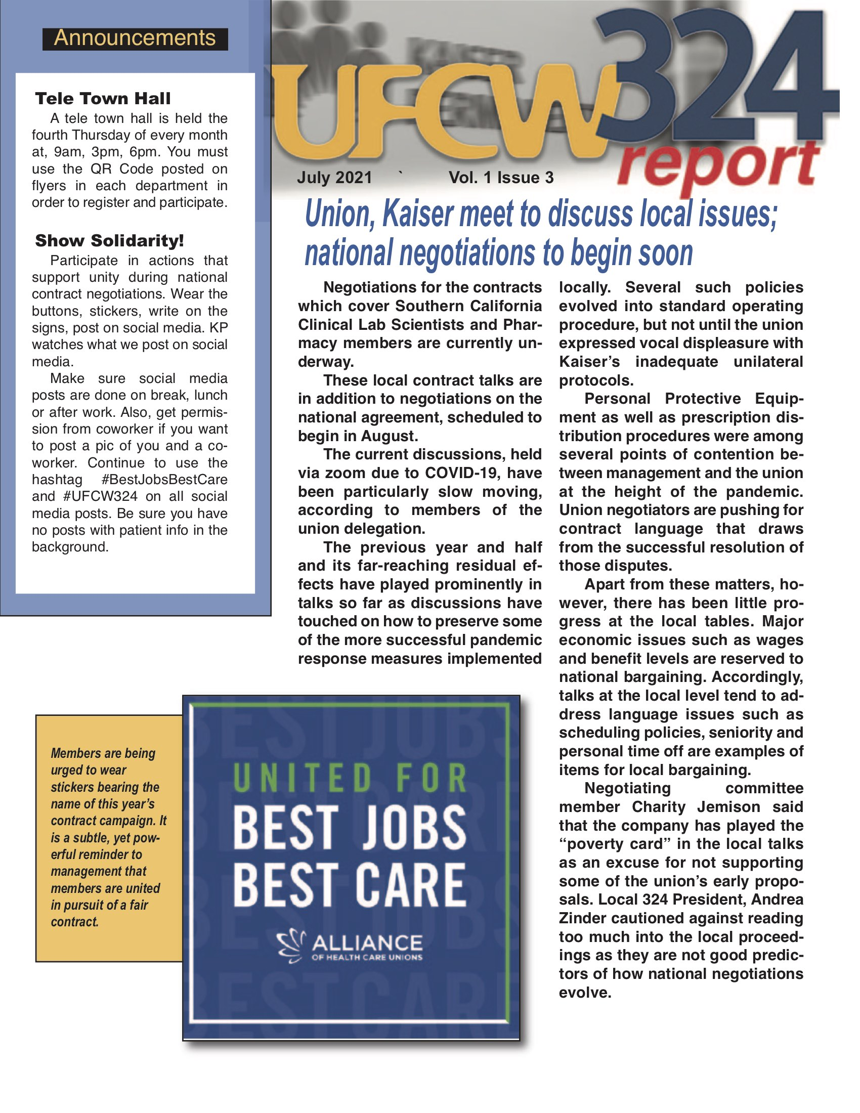 UFCW 324 Newsletter- Kaiser