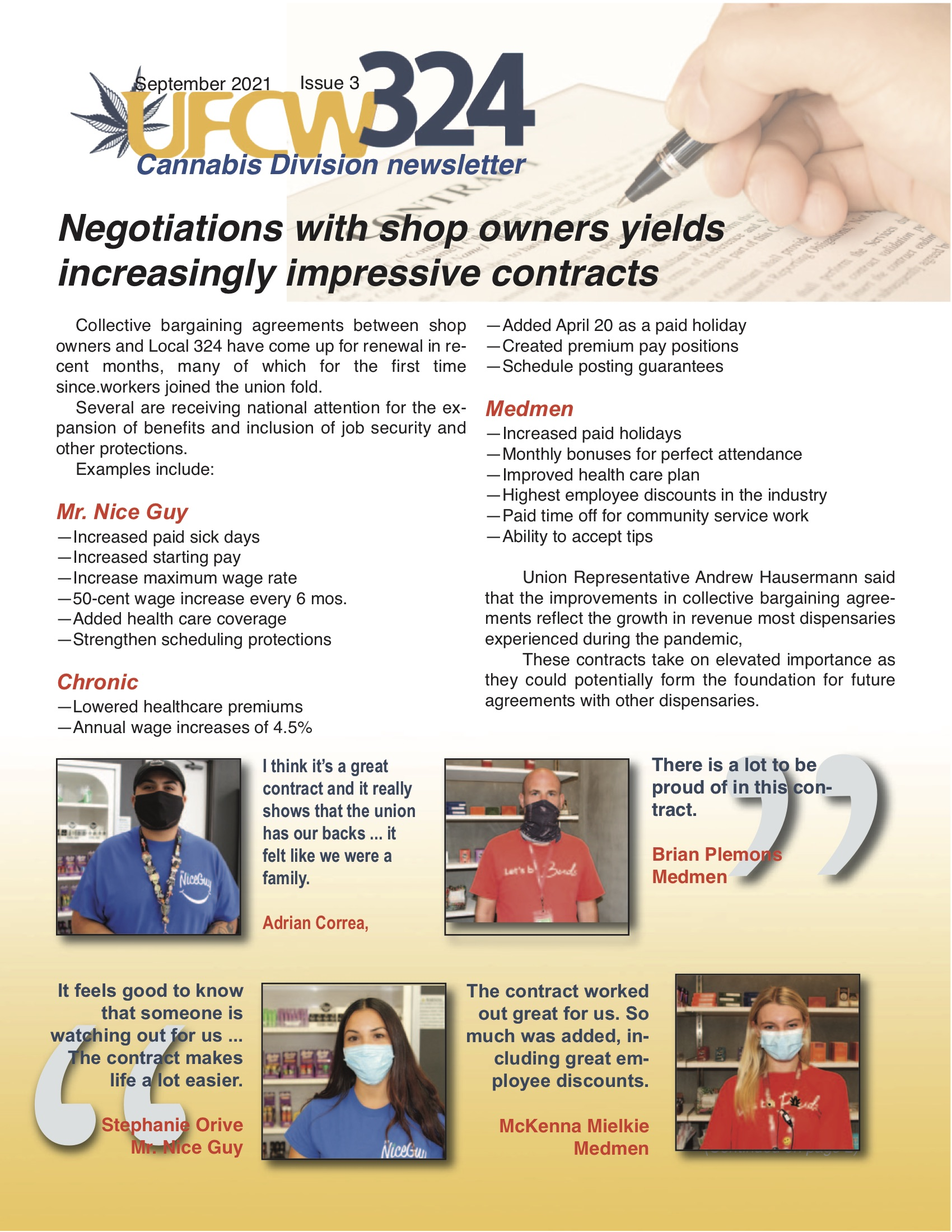 UFCW 324 Newsletter- Cannabis Division Vol. 1 – Iss. 3
